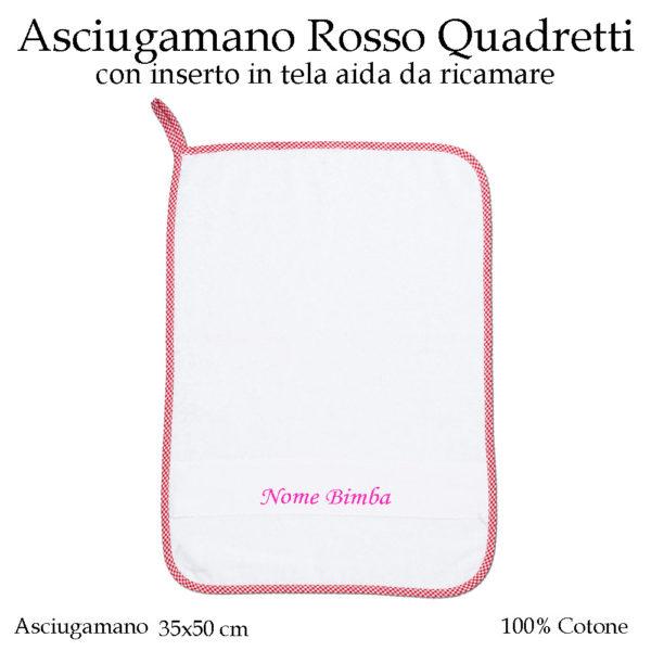 Set-asilo-rosso-quadretti-AS02-01-componente-asciugamano