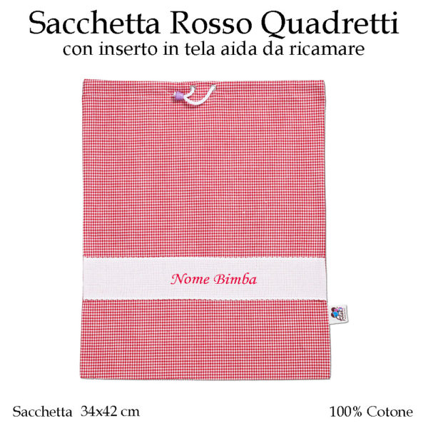 Set-asilo-rosso-quadretti-AS02-01-componente-sacchetta