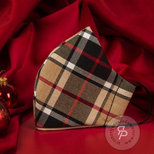 Mascherina-natale-tartan-natalizia-marrone-beige