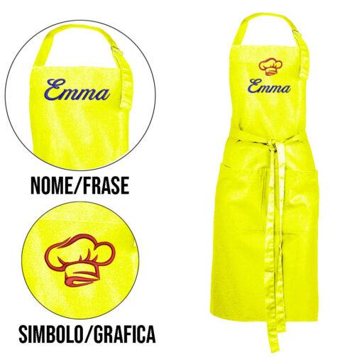 grembiule personalizzato con nome giallo fluo lime