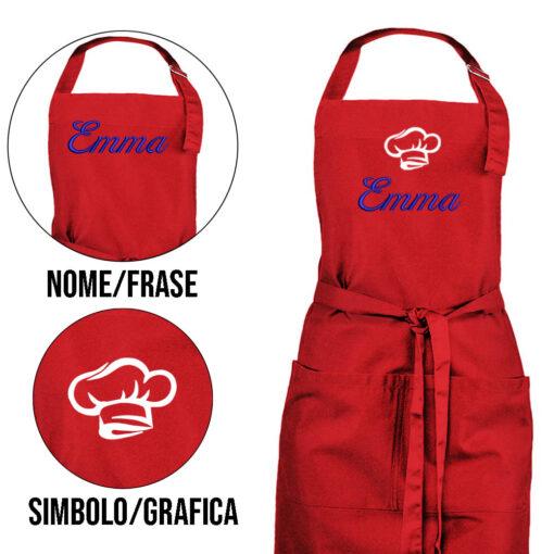 grembiule personalizzato con nome rosso acceso