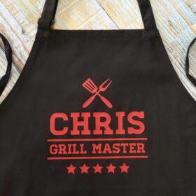 grembiule personalizzato grill master con stelle e nome